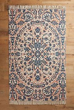 Coral and blue rug #Rugs