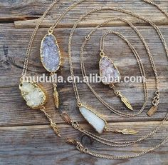 N15090406 Wholesale Fashion Druzy Jewelry Gold Plated Raw Druzy Stone Pendant Gold Chain Necklace With Feather Charm