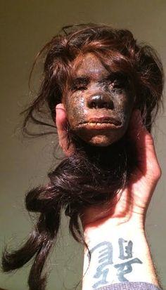 Rare female shrunken head. SOLD!  www.RealShrunkenHeads.com