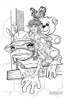 Concept page for a colouring book for children. Illustrated by Kiri Oestergaard Leonard: www.wicked-fairytale.com