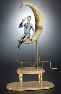 Dean Lucker, Man Drinking in the Moon, 2009, wood, metal, paint, 13 x 7 x 4 in. Photograph courtesy of Chazen Museum of Art