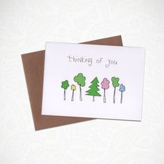 Thinking of you...  This greeting card was illustrated by me and made with love.  CARD DETAILS: -Standard A2 folded card. -Comes with an A2 Grocery Bag Brown Envelope. -Professionally printed on heavyweight 16pt, sustainably sourced paper stock. -Each card is scored, ensuring a clean fold. -Blank inside for you to write a personal message. -Comes packaged inside a protective cellophane sleeve. FREE SHIPPING! SHIPS within 1-3 Business days.  Feel free to ask questions before buying!  Thanks…