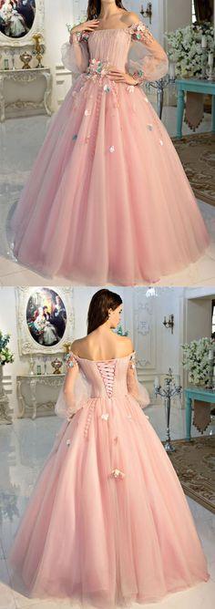 A-line Off-Shoulder Floor-Length Tulle Appliqued Pink Prom Dresses HX0042 #promdress #pink #country #vintage