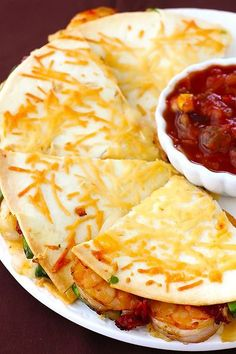 Parmesan Crusted Shrimp Quesadillas. Also link to buffalo chicken meatballs and crockpot lasagna that looks amazing.