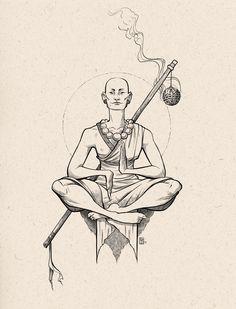 """The Monk - using the prompt """"tranquil"""" - Inktober 2018 - Tattoo Drawings, Art Drawings, Los Muertos Tattoo, Buddha Tattoo Design, Japanese Tattoo Art, Tattoo Project, Buddha Art, Goth Art, Copics"""