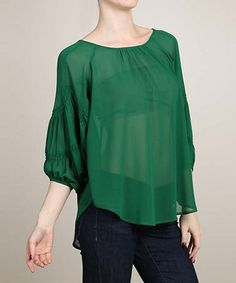 Love this Green Sheer Smocked Sleeve Top by AudreyAnn on #zulily! #zulilyfinds