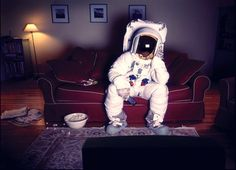 Just an astronaut watching a little TV!