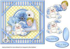 Hush Little Baby Corner Frame Card Blue on Craftsuprint - Add To Basket!