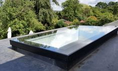 Rooflight - Skylight for Flat roof extensions Architectural glazed to the highest quality using Solar Control glass as standard and an available up to 5 metres long in one piece Manufactured in Surrey using the latest CNC machinery Flat Roof Skylights, Roof Extension, Extension Ideas, Roof Light, Domestic Goddess, Extensions, Patio, Lighting, Architecture