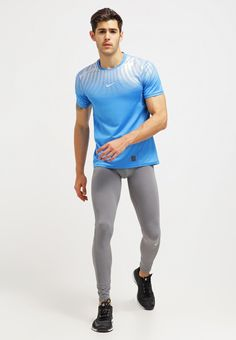 Nike Performance PRO HYPERCOOL - T-Shirt print - light italy blue/metallic…