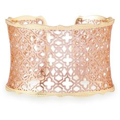 Kendra Scott Candice Gold Cuff Bracelet in Rose Gold Filigree ($75) ❤ liked on Polyvore featuring jewelry, bracelets, gold cuff bangle, 14k gold bangles, yellow gold cuff bracelet, cuff bangle bracelet and rose gold bangle