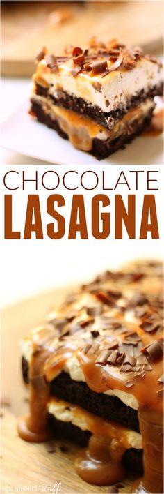 Chocolate Lasagna the perfect gooey, chocolatey, caramel dessert from Six Sisters' Stuff #tasteofitaly