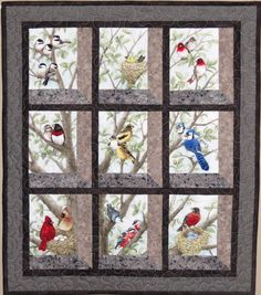 Quilted and Pieced Wall Hanging Attic Window Birds in by MiniMade