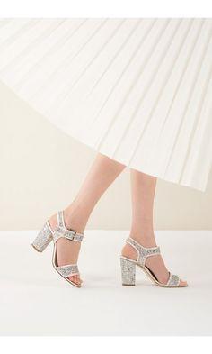 Sandalo glitter con tacco in argento o platino c5c30840d68