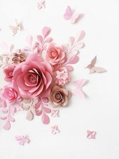 Ensemble de 7 grandes papier fleurs feuilles de papier et des