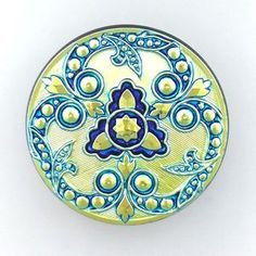 Czech Glass Button Green Floral 32mm 3 pieces