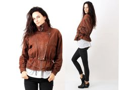 Vintage 80s Brown Real Leather Faded  Drawstring Jacket Size S by Ramaci on Etsy