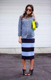 Tube skirt and denim shirt for relaxed #maternitystyle #stylishpregnancy