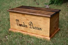 This is a beautiful wooden chest of excellent quality! Awesome for any keepsake chest or kids/babies toy or memory chest. The engraving on the front can be customized to your child's name or whatever you'd like. It also has a slow closing hinge to keep from fingers getting smashed. Additional engraving can be added to the top or inside lid of the box. Chest is done in a two tone finish with the lid a darker stain then the body. This can be changed of course! Additional stain colors are…