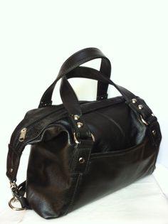 6be019acbb9a Genuine medium italian black leather hobo purse by Fgalaze on Etsy