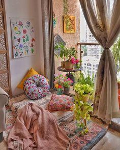 (C) Mishys_Arrtsy_Home | Reading nook | Comfortable space | New home | #homedecorideas #homedecordiy #pillow #plants #houseplants #readingnooks #diy #newhomedecor #wittyvows #newlyweds #decor #ideas House Shifting, Boho Curtains, Cozy Corner, Best Interior, Interior Ideas, Reading Nook, Wall Spaces, New Room, Colorful Decor