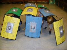 Also consider foil impression art - shield emblems etc Kids Viking Costume, Teaching Latin, Shield Of Faith, Knight Party, Holiday Club, Dragons, Knight In Shining Armor, Armor Of God, Kids Church