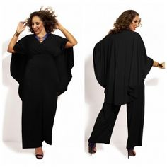 Black Plus Size Loose Long Jumpsuit Rompers Wholesale