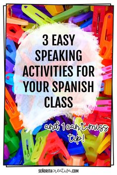 """speaking activities""""alt=""""fun speaking engaging speaking activities for language classes, and a tip to make speaking activities more engaging</br> Spanish Games, Spanish Lessons, Spanish Language Learning, Teaching Spanish, Spanish Classroom Activities, Listening Activities, Learning Games, Speaking Games, Fall Words"""