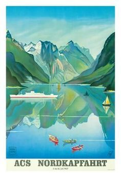 HAPAG Cruise Line: Nordkapfahrt - North Cape and Norwegian Fjords, c.1957 Giclee Print at Art.co.uk