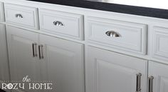 For part 3 of the Easy (and Inexpensive) Cabinet Updates series we are  talking about drawers. I don't know about you, but the little drawers in my  kitchen are flat panel drawers. Why they chose to do this when every other  drawer in the kitchen has trim is beyond me.
