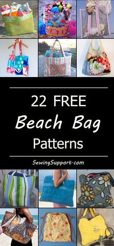 Free Beach Bag sewing patterns, tutorials, diy projects to sew for Summer. Beach bag pattern. How to make a beach bag.