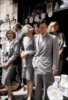 April 24, 1987: Prince Charles and Princess Diana with King Juan Carlos and Queen Sofia visiting a ceramic store in Toledo, Spain.