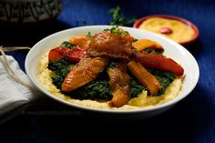 Creamy Polenta with Roasted Vegetables and Garlic Creamed Spinach