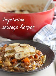 Vegetarian sausage hotpot - traditional British stew (vegan!)