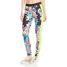 Juicy Couture Black Label Women's Rainforest Floral Compression... ($148) ❤ liked on Polyvore featuring activewear, activewear pants, juicy couture, compression sportswear and juicy couture sportswear