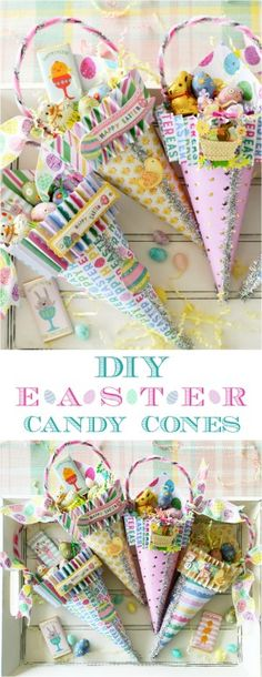 DIY Easter Treat + Candy Cones Easter Candy, Easter Treats, Easter Eggs, Easter Food, Easter Table, Candy Cone, Origami, Balloon Decorations Party, Holiday Decorations