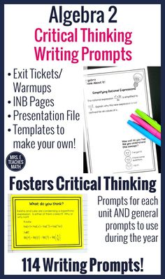Algebra 2 Writing in Math Prompts Math Lesson Plans, Math Lessons, Simplifying Rational Expressions, Solving Linear Equations, Math Writing, Writing Prompts, Maths Algebra, Calculus, Math Vocabulary