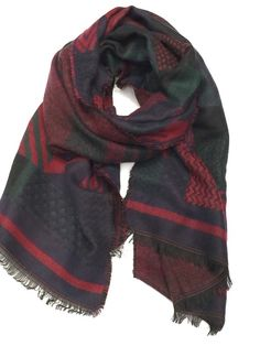 Navy, Red and Hunter Green Blanket scarf with tassel fringe