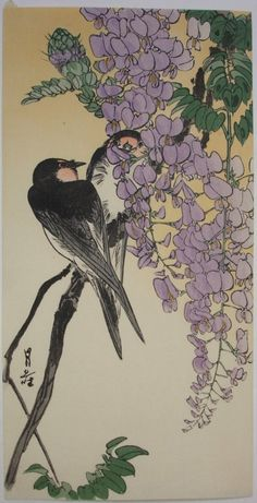 Gesso Yoshimoto - Two Swallows and Wisteria, 1930`s