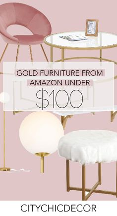 These glam, gold affordable furniture items from A Amazon Home Decor, Affordable Home Decor, Affordable Furniture, Cheap Home Decor, Glam Living Room, Glam Bedroom, Zen Bedroom Decor, Woman Bedroom, Stylish Bedroom