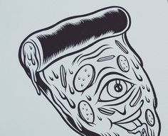 Pizza time @erikartoon can't wait to print this  #artwork #collaboration #ink #drawing #illustration #junkfood by muklay