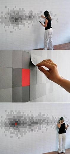 Post-it note wallpaper - OMG - need to do this in Minecraft colors for my son's room!