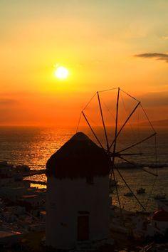 Windmill sunset, Mykonos, Greece