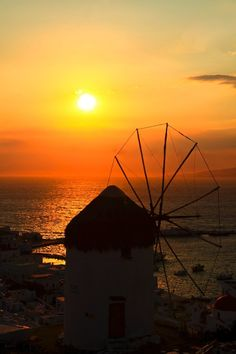 Windmill sunset, Mykonos, Greece
