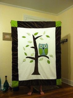 Owl quilt for baby boy.
