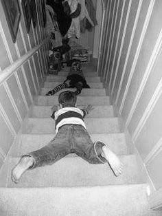 Oh the carpets burns and sore ribs! My younger brother used to come down the stairs like this before he got the hang of doing it the conventional way. 1980s Childhood, My Childhood Memories, Sweet Memories, My Children, Kids, I Remember When, The Good Old Days, Back In The Day, Funny Photos