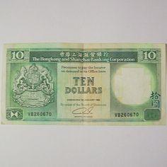 Hong Kong and Shanghai Banking Corp 10 Dollars 1992