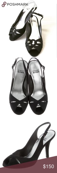 Stuart Weitzman Slingback Open Toe Pumps Brand new . Size 6 . Black satin Stuart Weitzman sandals with cutouts at vamps, covered heels and buckle closures at ankles. Stuart Weitzman Shoes Heels