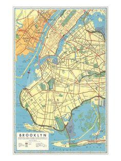 Map of Brooklyn, New York Art Print at Art.com