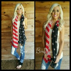 Vintage Flag Scarf ~ Follow @bar_t_boutique on Instagram  to Shop weekly New Arrivals